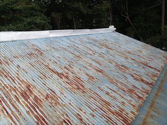腐食と錆の進んだ波板トタン
