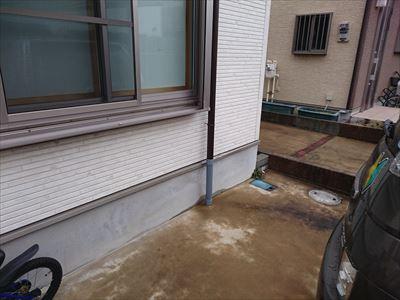 竪樋部分交換,水切り板金簡易整形,