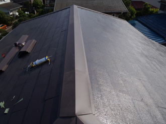 江戸川区で風害により棟板金飛散を修理