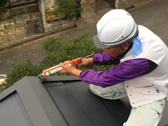 屋根葺き替えの施工の様子