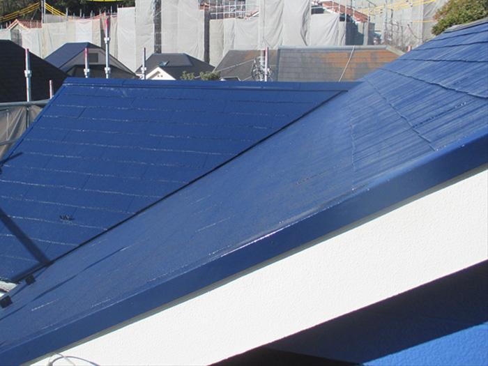 葛飾区 屋根塗装後 青色に塗装