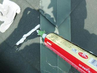 江戸川区 屋根塗装 スレートの欠けを補修