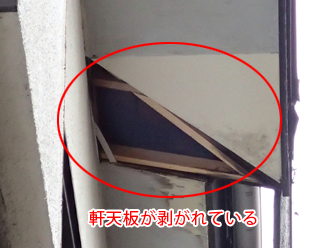 墨田区 屋根カバー工法前点検 軒天が壊れている