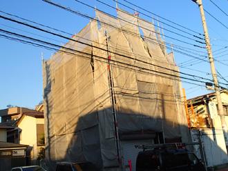 荒川区 屋根塗装 メッシュシート設置