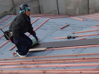 荒川区 屋根葺き替え工事 笠木設置