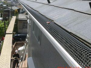雨樋交換と落ち葉除けネット設置
