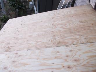 荒川区 屋根葺き替え工事 野地板を交換
