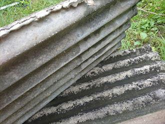 アスベスト含有の小波スレート