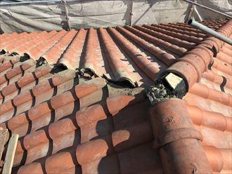 漆喰の剥がれによる雨漏り防止のための棟取り直し工事