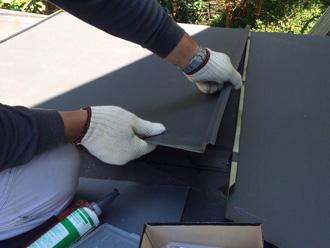 足立区 ガルバリウム鋼板の屋根材で葺き替え