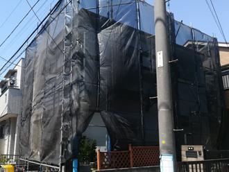 相模原市中央区 屋根塗装には足場の仮設とメッシュシートが必須