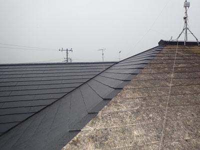 スレート屋根の部分的な葺き替え完了後