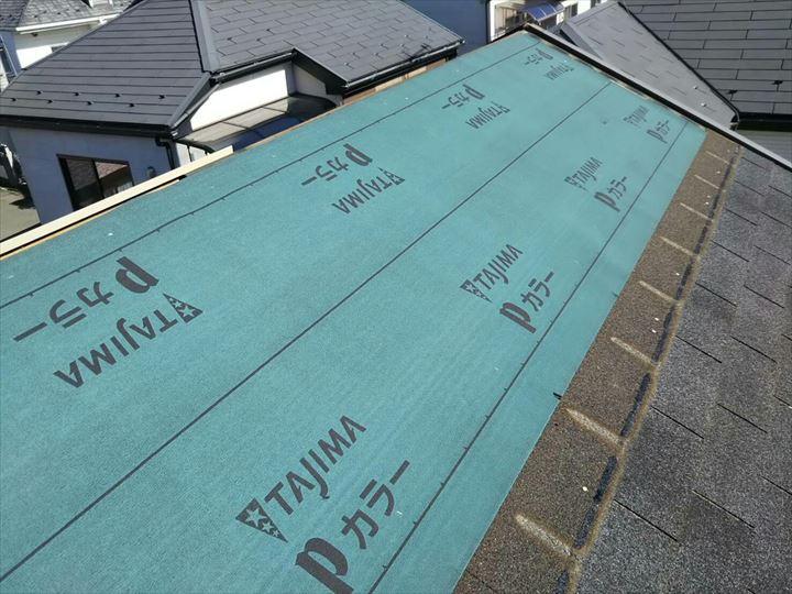 松戸市高塚新田 防水紙の設置完了