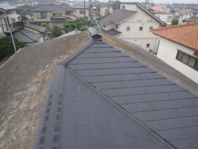 茂原市茂原でスレート屋根を部分的に葺き替えて雨漏り解消、雨染みができた天井も新しいものへ、施工後写真