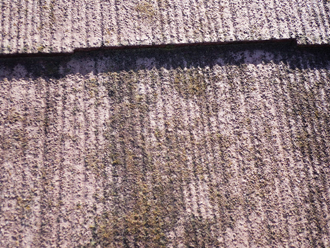 スレート材も劣化が激しく苔が繁殖