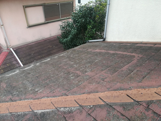 苔が繁殖した屋根