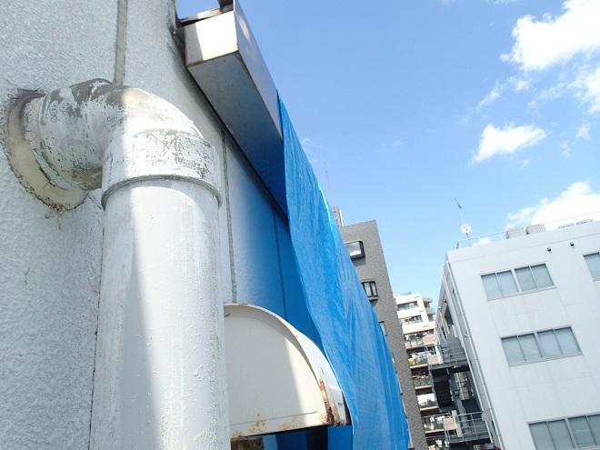 ブルーシートによる屋根の応急処置