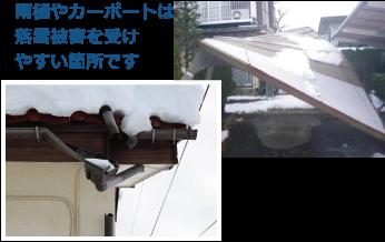 雨樋やカーポートは雪の影響を受けやすい部分です