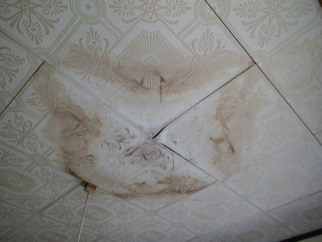雨染みが広がった天井