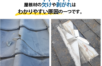 屋根の欠けた部分や剥がれた部分から雨水は浸水します