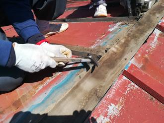 棟板金と貫板の解体