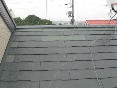 横浜市港北区小机町で脱落したスレートを部分的に葺き替えて屋根補修、施工後写真