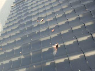 君津市 瓦の落下による二次被害