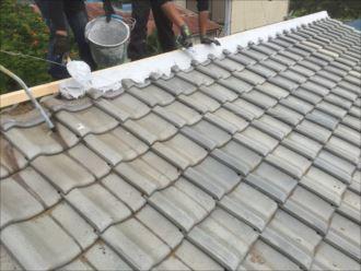 木更津市 漆喰の詰め作業