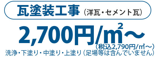 瓦塗装工事(洋瓦・セメント瓦)1㎡2700円~
