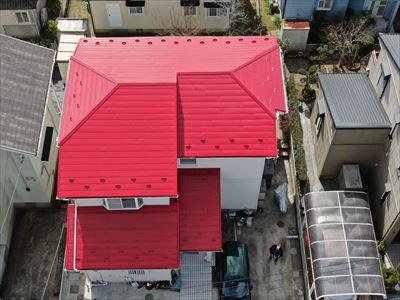 茂原市松ヶ島にて劣化した金属屋根をヤネフレッシュでの屋根塗装でイメージチェンジ、施工後写真