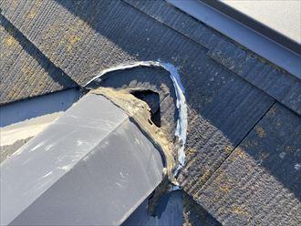 棟板金端部のシーリング劣化