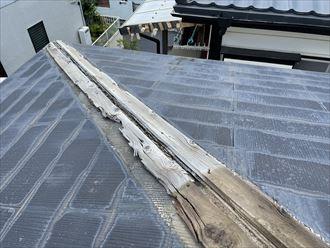 板金飛散箇所の貫板は劣化が進行