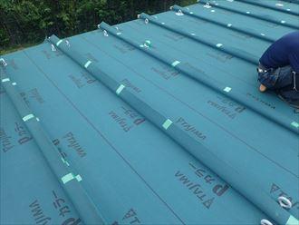 旭市 防水紙の設置完了