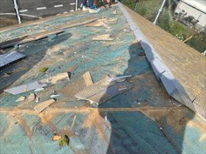 台風で破損した差し棟の復旧工事